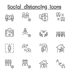 Set social distancing related line icons vector
