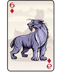 Six of diamonds playing card with a lynx vector image
