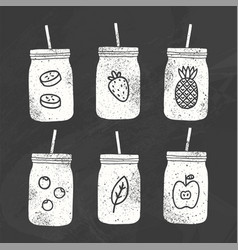 Six smoothie jars chalk drawing on a blackboard vector