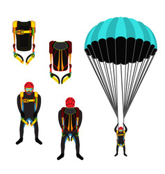 skydiving school academy set parachute pack vector image