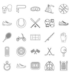 Sport on the grass icons set outline style vector