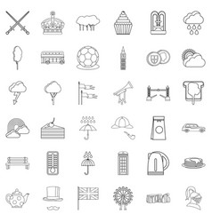 stonehenge icons set outline style vector image