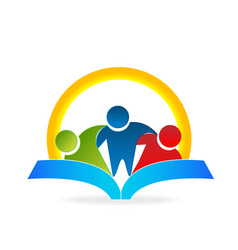 students reading a book icon vector image