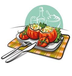 Stuffed tomatoes vector