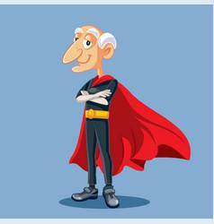 Superhero grandfather having superpowers vector