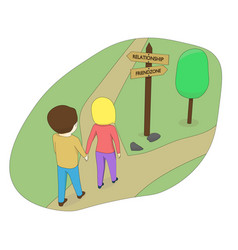 the boy and the girl choose the road vector image