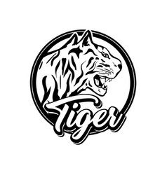 tiger logotype template black and white vector image