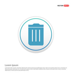 trash bin icon - white circle button vector image