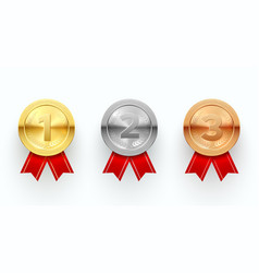 trophy medals set reward sign and ceremony vector image