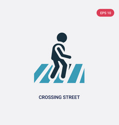 two color crossing street icon from people vector image