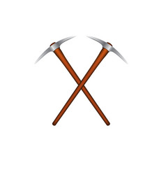 Two crossed mattocks with wooden handle vector