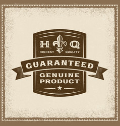Vintage guaranteed genuine product label vector