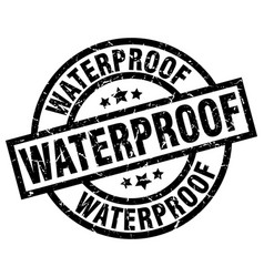Waterproof round grunge black stamp vector