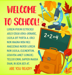 Welcome back to school greeting card template vector