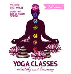 Yoga classes human in lotus pose chakras signs vector
