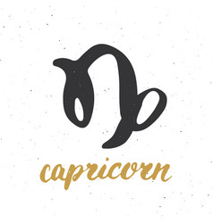 Zodiac sign capricorn and lettering hand drawn vector
