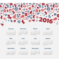 Calendar for 2016 with Christmas pattern vector image