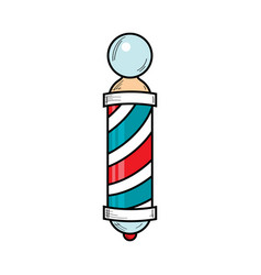 drawing of barber pole sign used by barbershops vector image