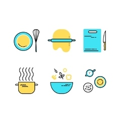 set of flat line cooking icons vector image vector image