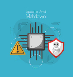 spectre and meltdown board circuit virus warning vector image vector image