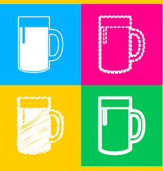 beer glass sign four styles of icon on four color vector image vector image