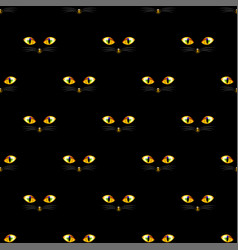 cat golden eye seamless on black background vector image