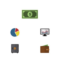 Flat icon gain set of strongbox chart billfold vector
