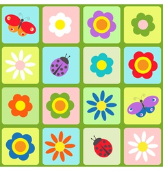 Flowers butterflies and ladybugs vector image vector image