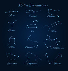 hand drawn zodiac constellations vector image vector image