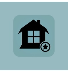 Pale blue favorite house icon vector