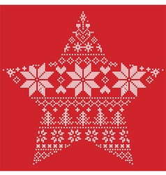 Scandinavian pattern in star shape on red vector image vector image