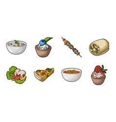 vegetarian dish icons in set collection for design vector image