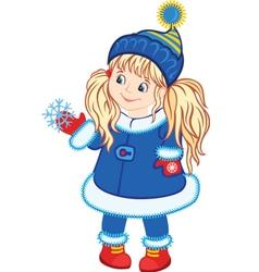 Winter Little Girl vector image