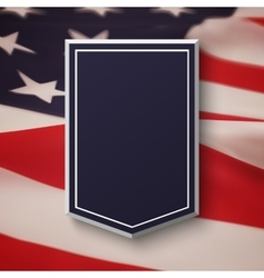 Blank blue shield on top of American flag vector image vector image