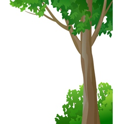 Tree and bush on a white background vector image vector image