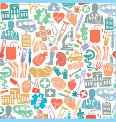 background pattern with medical icons vector image vector image
