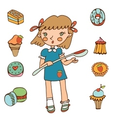 Cute little girl holding big spoon choosing sweets vector image vector image