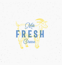 fresh milk and cheese retro print effect card vector image