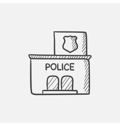 Police station sketch icon vector image