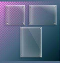 realistic glass plate mockup set vector image vector image