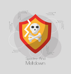 spectre and meltdown shield protection skull bones vector image vector image
