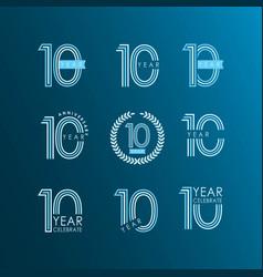 10 year anniversary celebrate set template design vector