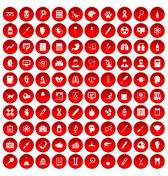 100 diagnostic icons set red vector image