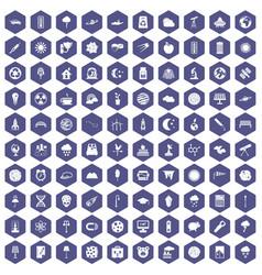100 moon icons hexagon purple vector
