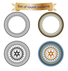 4 Set of round pattern vector image
