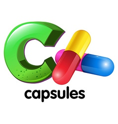 A letter C for capsules vector