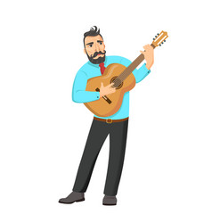 a singing musician playing guitar vector image