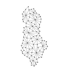 albania map of polygonal mosaic lines network ray vector image