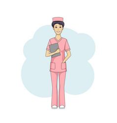 Asian female nurse in pink uniform vector