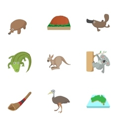 Attractions of Australia icons set cartoon style vector